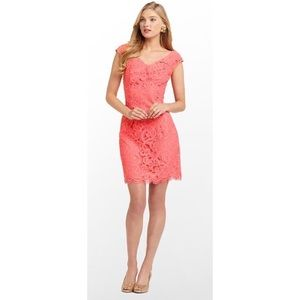 Lilly Pulitzer Rosaline Dress Coral Pink Lace G107